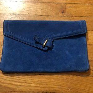 Handbags - Blue Suede Clutch
